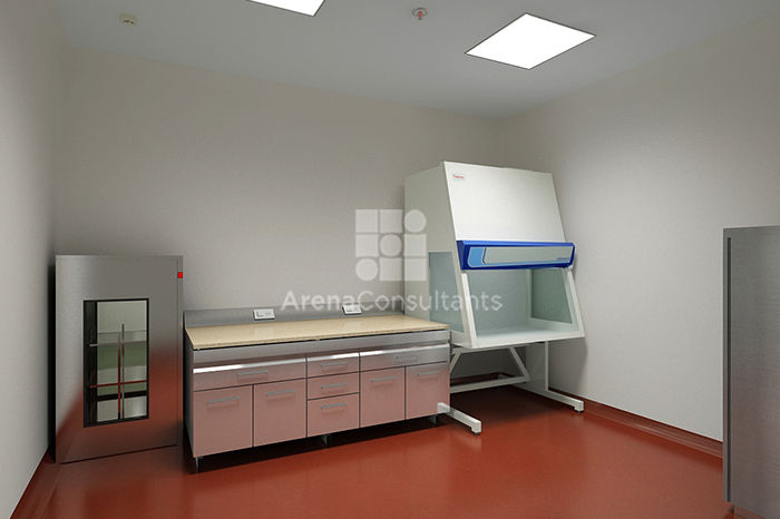 Culture room pharma lab, sterile zone with pass box and bio-safety cabinet