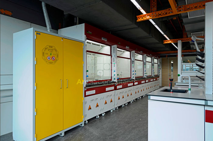 Chemical storage cabinets and fume hood in line for Huntsman